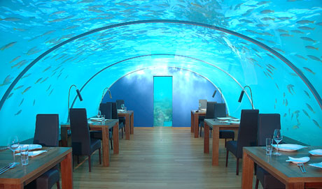 15 April marks the day that the first ever all-glass undersea restaurant in the world opens its doors for business at the Hilton Maldives Resort & Spa. Ithaa* will sit five meters below the waves of the Indian Ocean, surrounded by a vibrant coral reef and encased in clear acrylic offering diners 270-degrees of panoramic underwater views.
