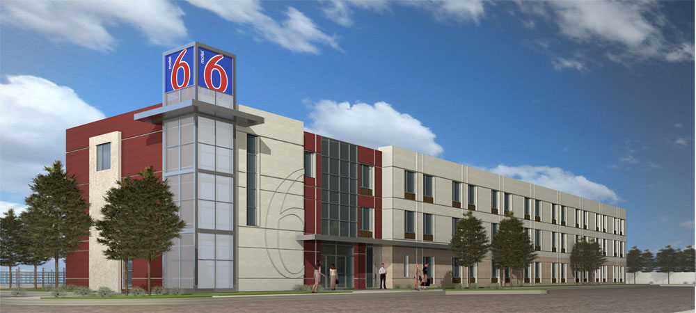 Motel 6 breaks ground on new greener design to illustrate for Motel exterior design