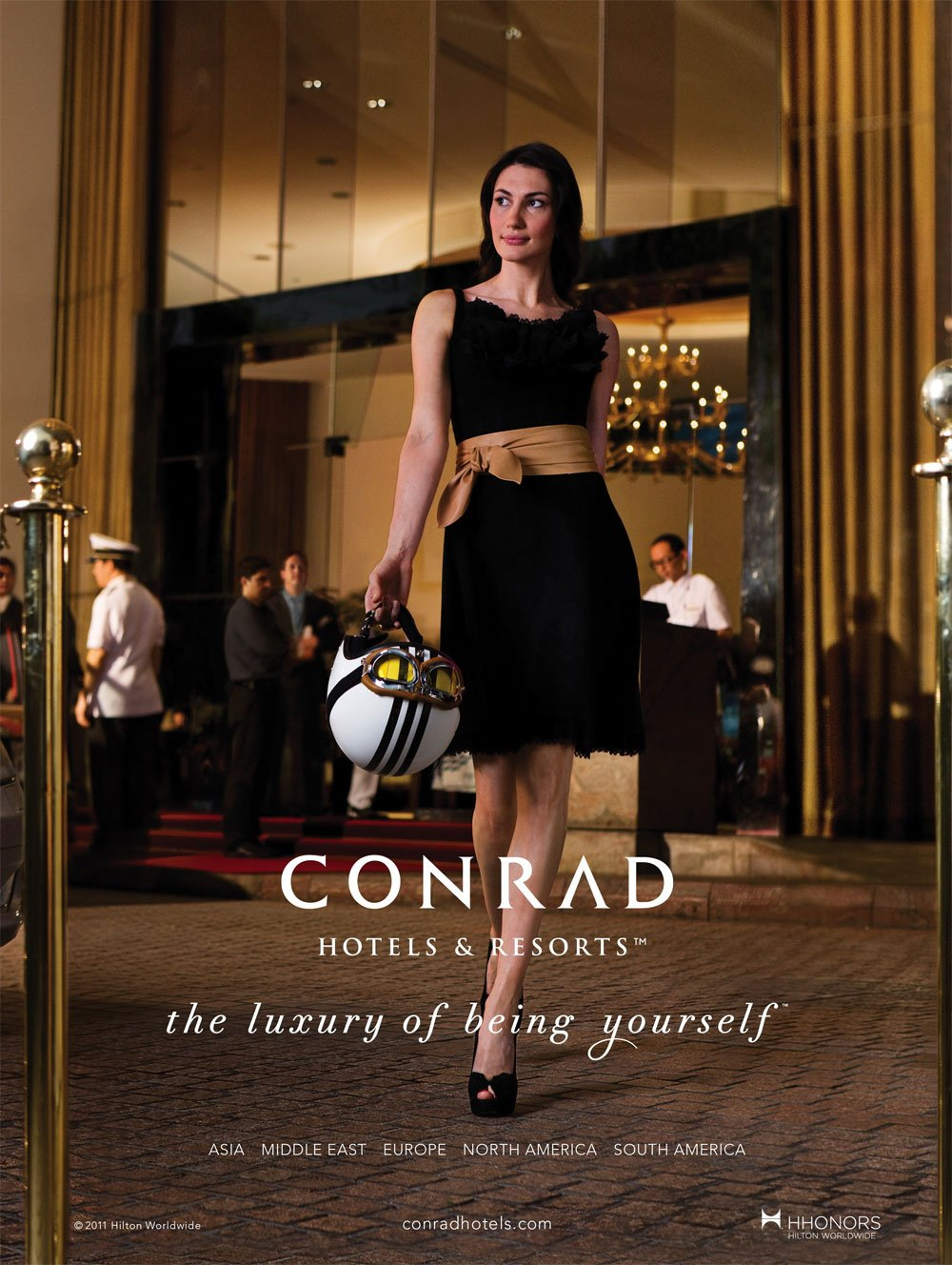 Departure Shot Outside Conrad Hong Kong Featuring A Confident Beautiful Woman Who