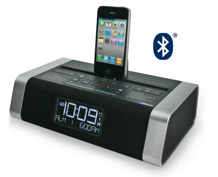 hotel technologies debuts digital alarm clock radio with bluetooth speakerphone for ipod. Black Bedroom Furniture Sets. Home Design Ideas