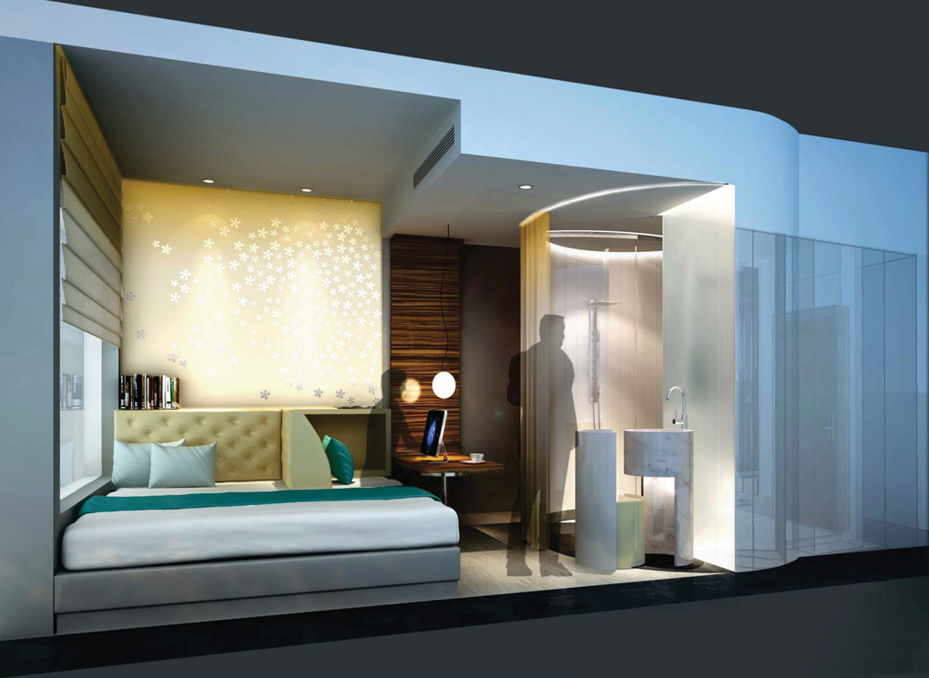 Bd reveals 12 innovative hotel room designs of the future for Hotel bedroom design