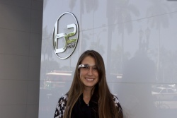 Colleen Delaney of Tambourine, using the firm's Google Glasses at the B2Hotel in Miami