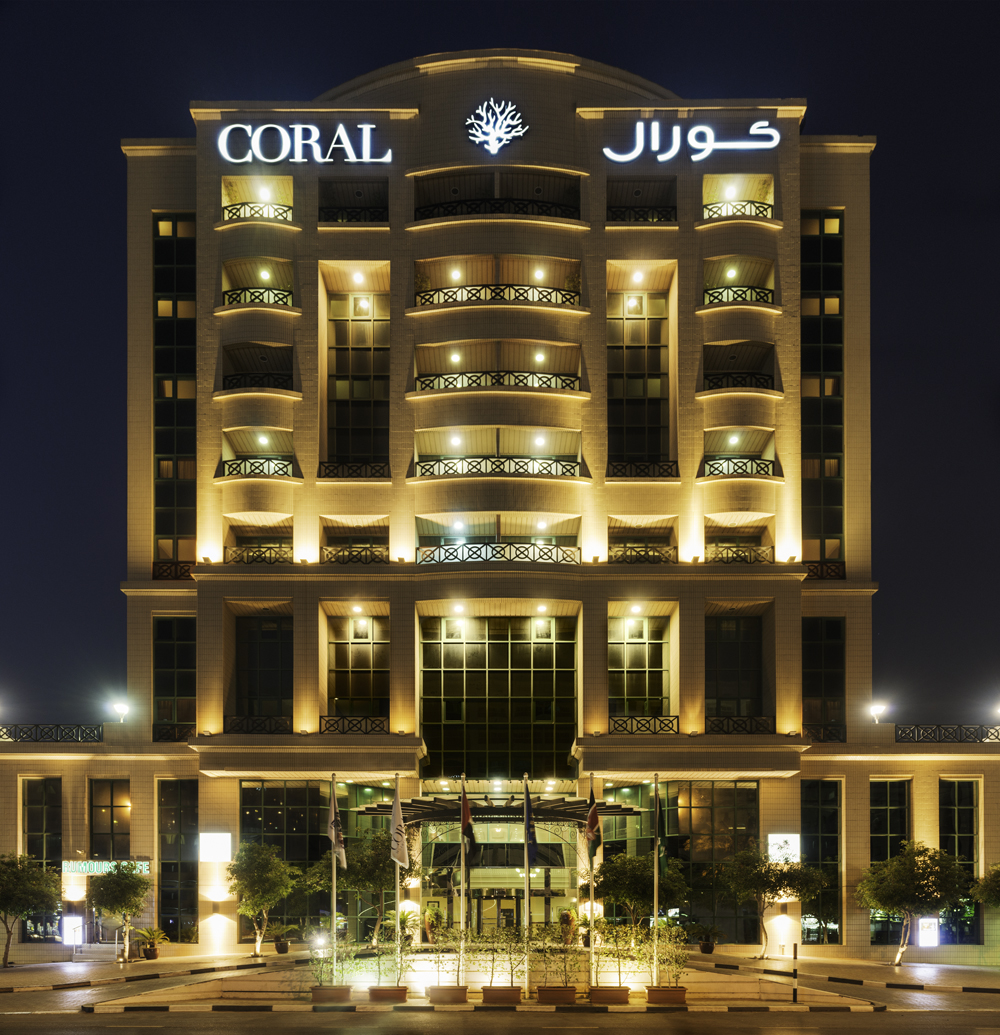 The new coral logo lights up across coral hotels for Dubai top hotels name