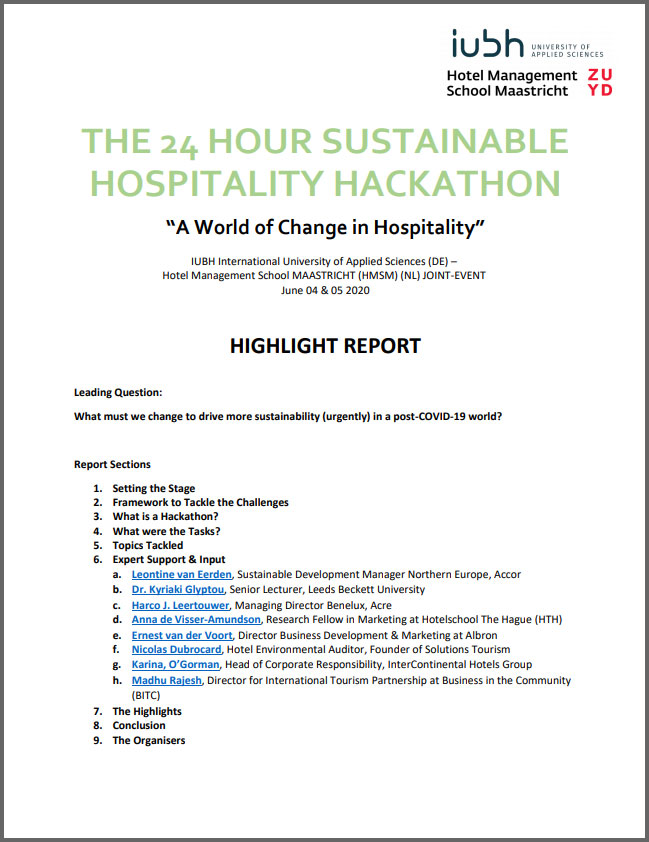 The 24 Hour Sustainable Hospitality Hackathon: Highlight Report