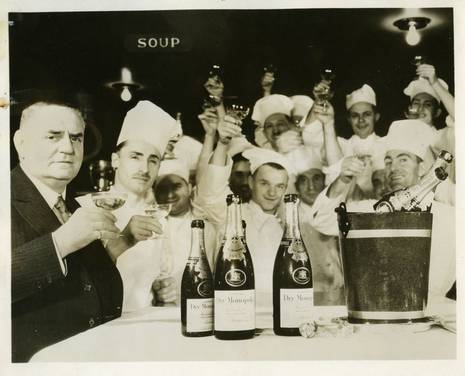 The Waldorf=Astoria in 1933: Oscar Tschirky and kitchen staff celebrating the end of Prohibition
