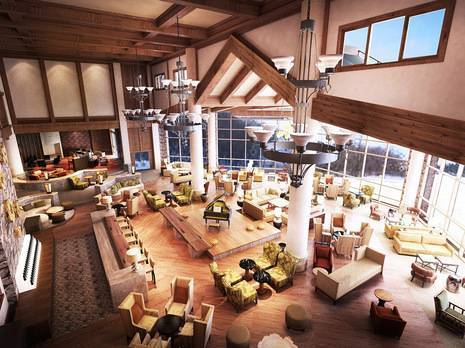 Sheraton Changbaishan lobby at Starwood's first dual-branded ski resort in China's Changbai Mountains
