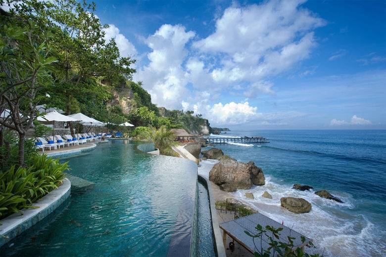 Ocean Beach Pool at Ayana Resort and Spa is the first saltwater pool in Bali, which offers breathtaking views of the Indian Ocean and secluded beach
