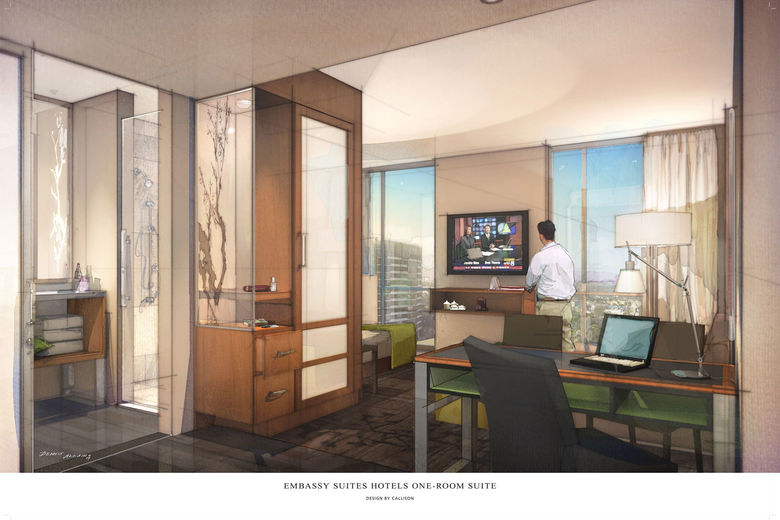 Embassy Suites introduces a one-room suite concept aimed at business travelers.