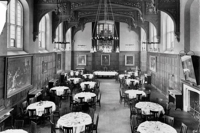 "Cornell History | Dining room in Risley Hall, home of the opening banquet of the first and second Hotel Ezra Cornell, student-run ""hotel for a day,"" in 1926 and 1927."