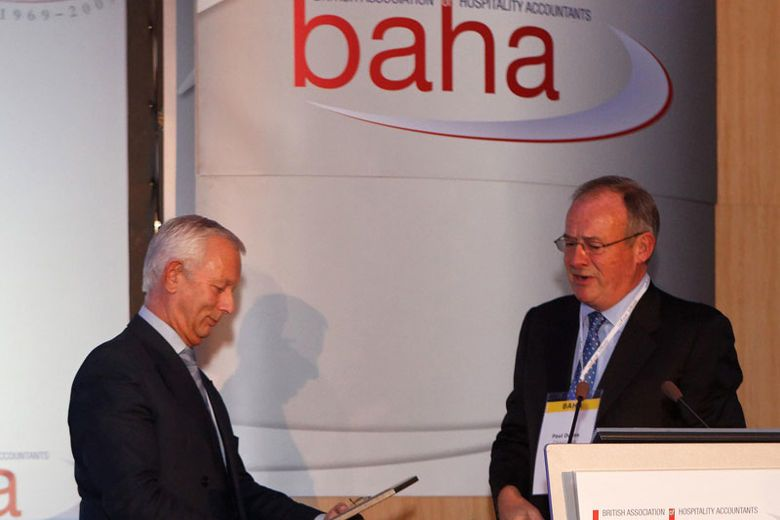 Bob Cotton OBE Honoured by BAHA (British Association of Hospitality Accountants) for outstanding leadership of British Hospitality Association (BHA)
