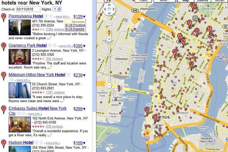 Experiment to show hotel prices on Google Maps