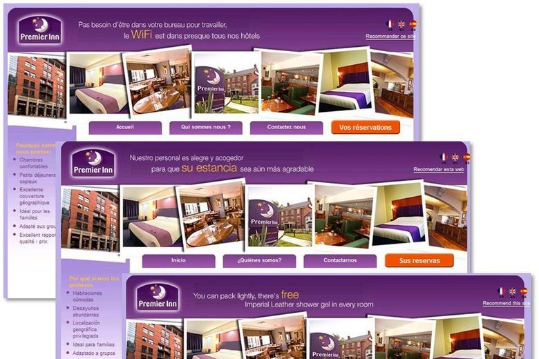 FastBooking international sites for Premier Inn