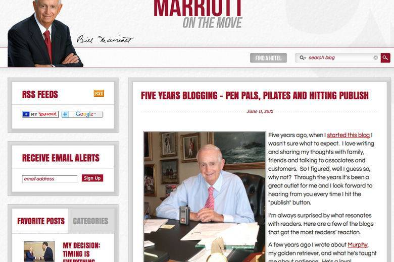 Bill Marriott's Blog Turns Five | 80-year-old executive a social media pioneer
