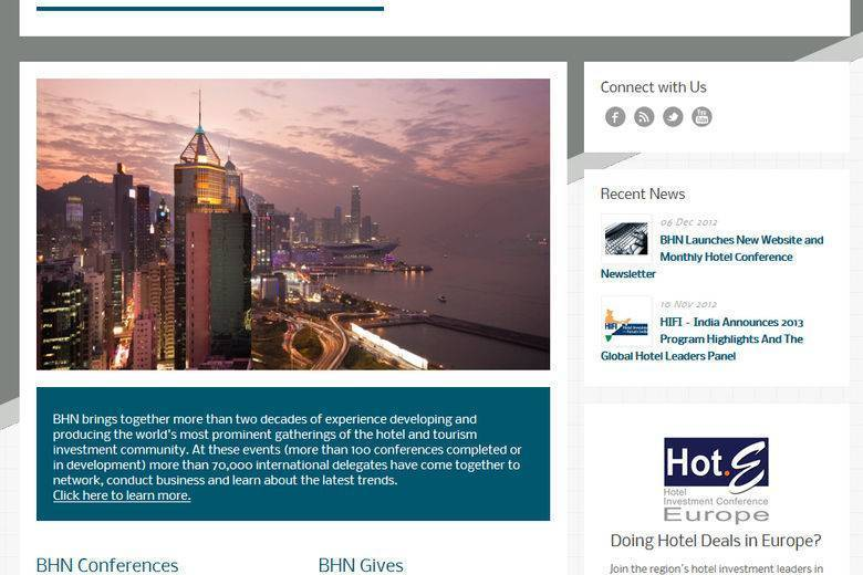 BHN Launches New Website and Monthly Hotel Conference Newsletter