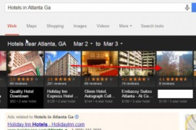 Google Carousel Search - Hotels in Atlanta Ga