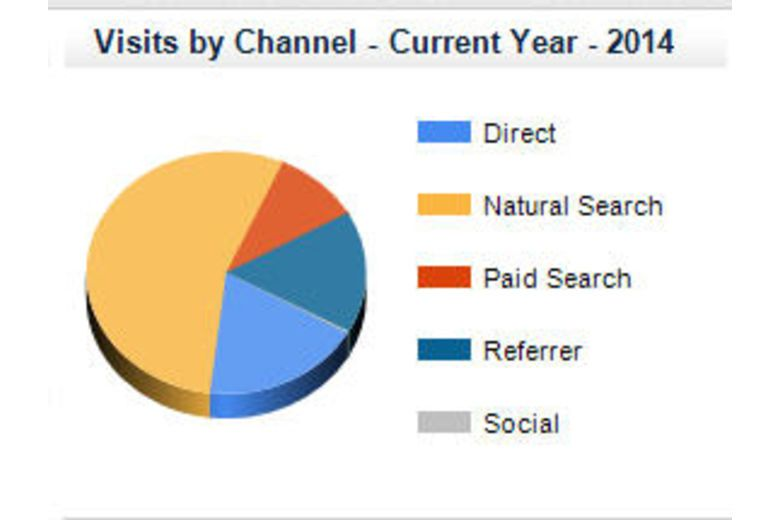 Vizergy Pie Chart - Visits by Channel in 2014