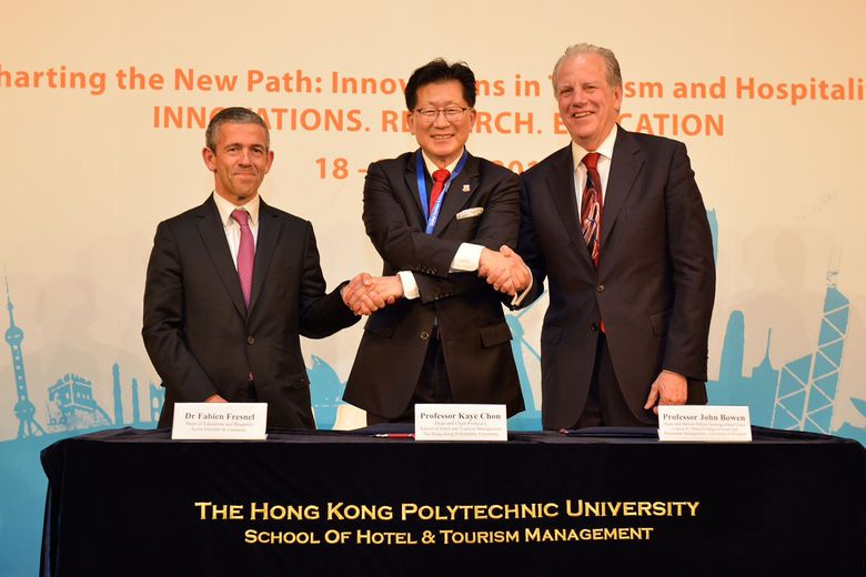 PolyU Signed Tripartite Agreement with Ecole hôtelière de Lausanne and  University of Houston Conrad N. Hilton College of Hotel and Restaurant Management