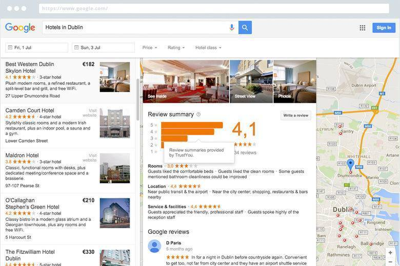 TrustYou Meta-Review Above Google Reviews on Google