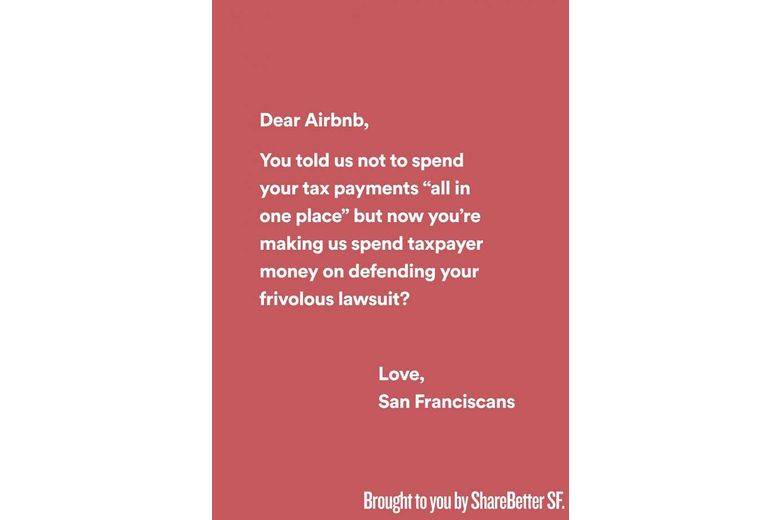 'Dear Airbnb' ads chide vacation-rental company | sfchronicle.com